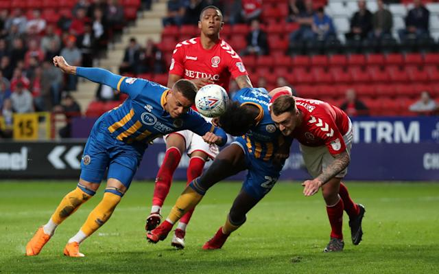 "Soccer Football - League One Play Off Semi Final First Leg - Charlton Athletic vs Shrewsbury Town - The Valley, London, Britain - May 10, 2018 Charlton Athletic's Patrick Bauer in action with Shrewsbury Town's Aristote Nsiala and Carlton Morris Action Images/Peter Cziborra EDITORIAL USE ONLY. No use with unauthorized audio, video, data, fixture lists, club/league logos or ""live"" services. Online in-match use limited to 75 images, no video emulation. No use in betting, games or single club/league/player publications. Please contact your account representative for further details."