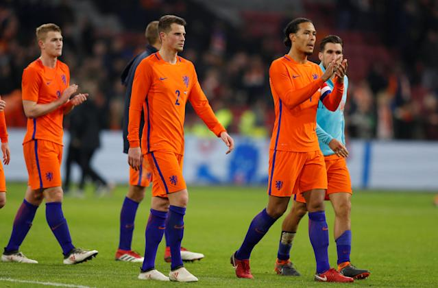 Soccer Football - International Friendly - Netherlands vs England - Johan Cruijff Arena, Amsterdam, Netherlands - March 23, 2018 Netherlands' Hans Hateboer and Virgil van Dijk after the match Action Images via Reuters/John Sibley