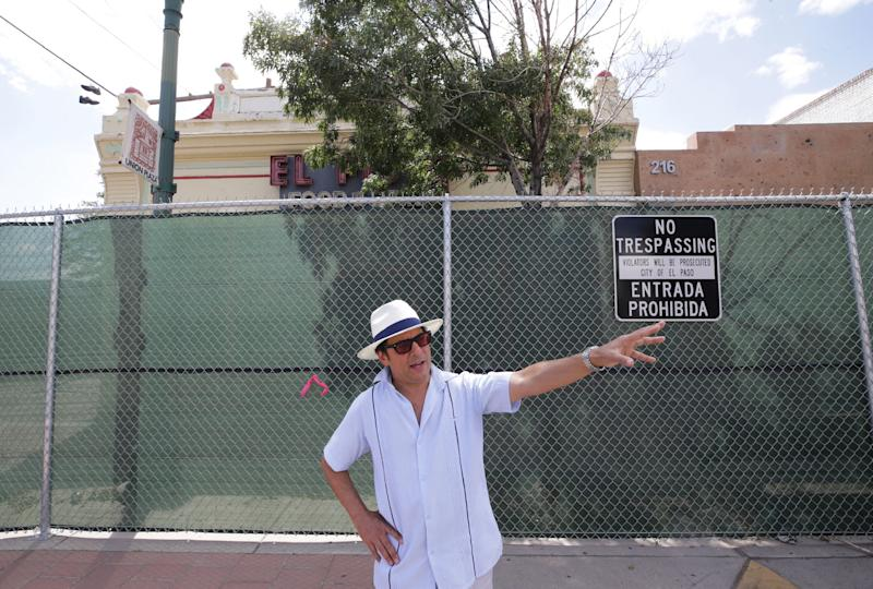 Max Grossman, UTEP professor and board member of the Trost Society, points out historic buildings within the Union Plaza neighborhood that are slated for demolition to make way for a sports arena. The building behind Grossman was a Chinese laundry building, he says its the last known building built by El Paso's Chinese community.