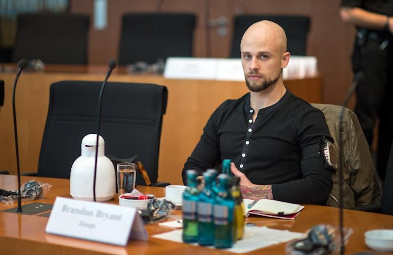 Brandon Bryant, photographed in Berlin on October 15, 2015 during a break in testimony on NSA spying, is among four former US drone operators who decried the technology's lethal use in an open letter published November 19 (AFP Photo/Bernd von Jutrczenka)