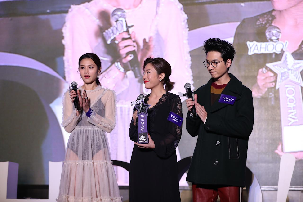 <p>Chrissie Chau, BabyJohni and Kearen Pang at the Yahoo Asia Buzz Awards 2017 in Hong Kong on Wednesday (6 December).</p>