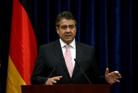 German Foreign Minister Sigmar Gabriel speaks during a joint news conference with Iraq's Kurdistan region's President Massoud Barzani (not pictured) in Erbil, Iraq April 20, 2017. REUTERS/Azad Lashkari