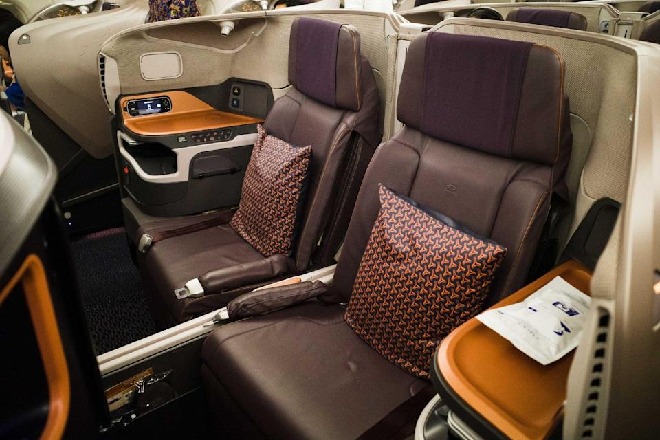 One of the middle row business class seats. Photo: Coconuts