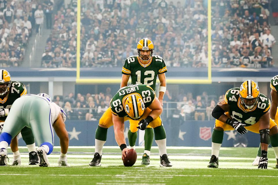 Green Bay Packers quarterback Aaron Rodgers (12) leads his team into a big road game against the Cowboys. (Getty Images)