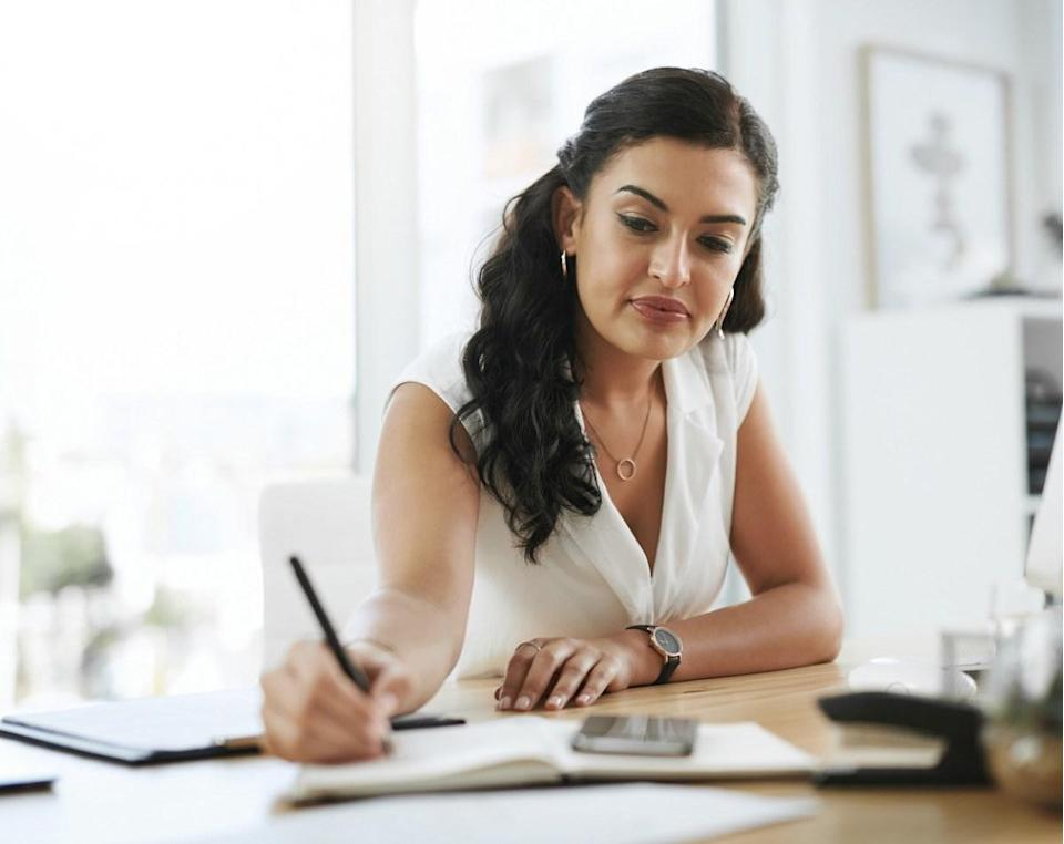 """If you're a woman in the workplace, your 40s are the time when you are likely to start making the most money in your career, which is certainly something to put in the pro column of turning 40. In fact, according to 2019 data from <a href=""""https://www.payscale.com/data/peak-earnings"""" rel=""""nofollow noopener"""" target=""""_blank"""" data-ylk=""""slk:PayScale"""" class=""""link rapid-noclick-resp"""">PayScale</a>, on average, women hit their peak earnings at age 44. (Men on the other hand, don't do so until a bit later, at age 55.)"""