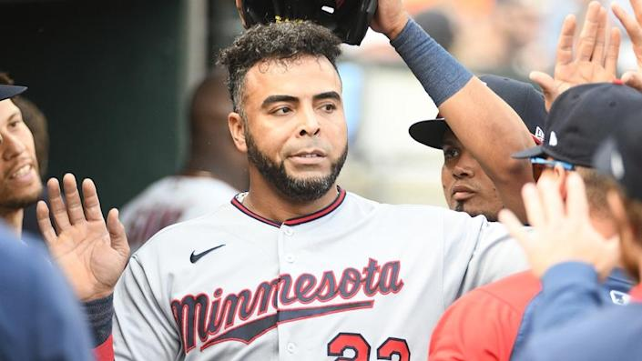 Twins designated hitter Nelson Cruz in the dugout in 2021