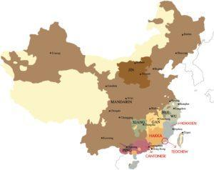 Origins of each dialect group on the map of China. Edited image: Coconuts, Wyunhe