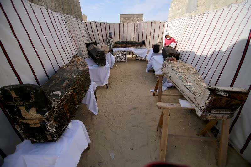 Coffins, part of a recent discovery from the Saqqara necropolis, are seen south of Cairo