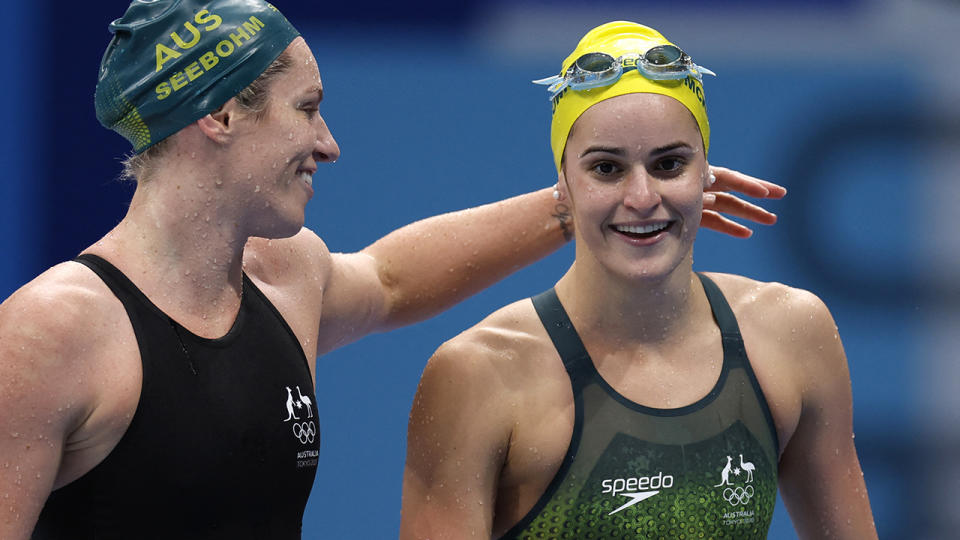 Emily Seebohm and Kaylee McKeown, pictured here celebrating after the 200m backstroke final.