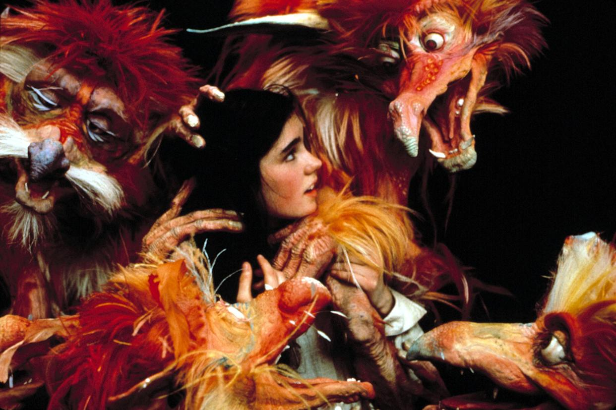 Jennifer Connelly and some of the puppet stars of Jim Henson's classic 1986 fantasy, 'Labyrinth' (Photo: TriStar Pictures/Courtesy Everett Collection)