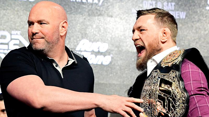 Dana White and Conor McGregor are pictured together during a UFC press conference.