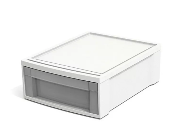 Stacking Drawer in White. Image via Bed Bath and Beyond.
