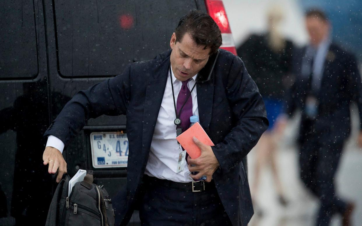 <span>White House communications director Anthony Scaramucci arrives at Andrews Air Force Base, Md., Friday, July 28, 2017, to board Air Force One to travel with President Donald Trump to Brentwood, N.Y. close to where the ultra-violent street gang MS-13 has committed a string of gruesome murders</span> <span>Credit: AP </span>