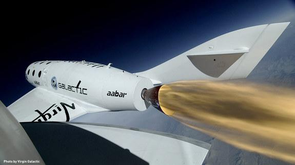 Frame from SpaceShipTwo Boom Camera during first rocket-powered flight on April 29, 2013.