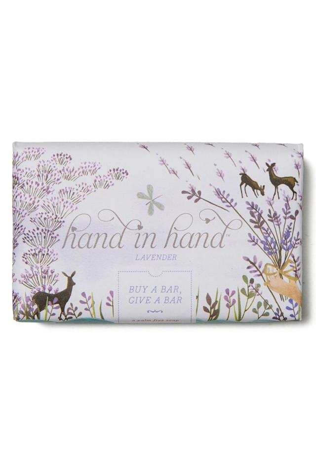 """<p><strong>BUY NOW: </strong><span><em>$6, <a rel=""""nofollow"""" href=""""https://www.handinhandsoap.com/collections/bar-soap"""">handinhandsoap.com</a></em></span></p><p><span>Buy this all-natural, lightly fragranced soap, and <a rel=""""nofollow"""" href=""""https://www.handinhandsoap.com/"""">Hand in Hand</a> will give a bar and a month of clean water to a community in need. </span></p>"""