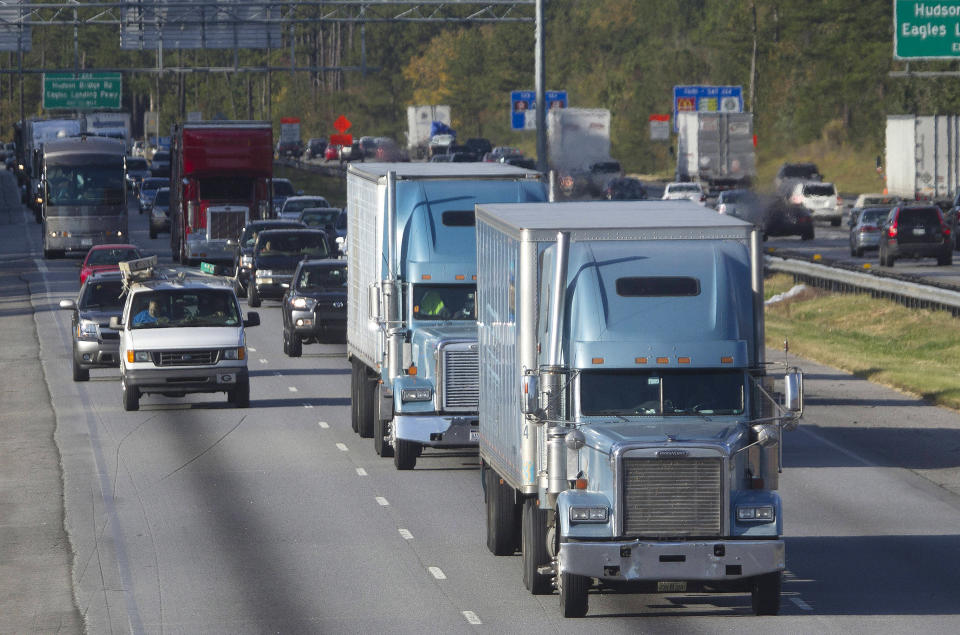 According to a 2016 study, the Canadian trucking industry will be short 34,000 drivers by 2024. (AP Photo/John Bazemore)