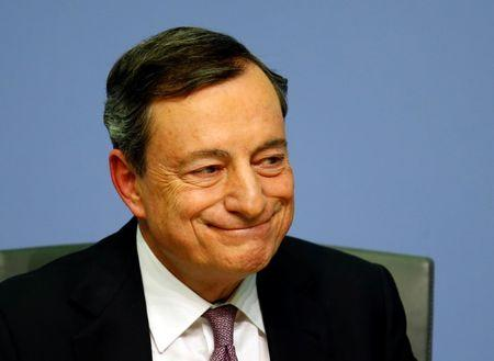 FILE PHOTO: European Central Bank (ECB) President Mario Draghi holds a news conference