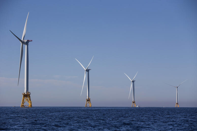 The five new 6 megawatt wind turbines off the coast of Block Island, Rhode Island, are expected to produce more energy than the island needs. (Scott Eisen via Getty Images)