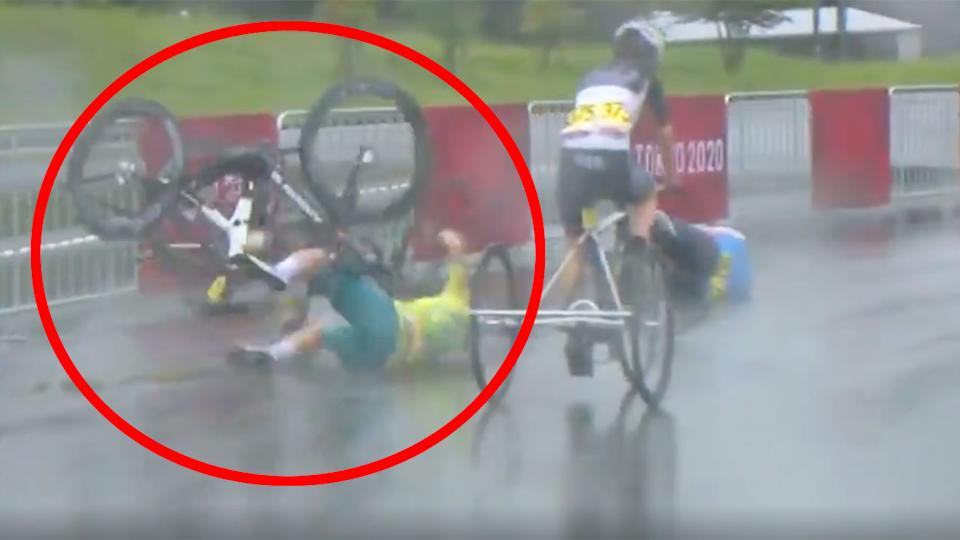 Pictured here, Aussie Paralympic champion Carol Cooke crashes in the women's T1-2 road race in Tokyo.