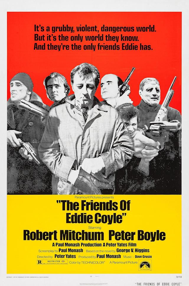 The Friends Of Eddie Coyle, poster, US poster art, center: Robert Mitchum, right from center: Peter Boyle, 1973. (Photo by LMPC via Getty Images)