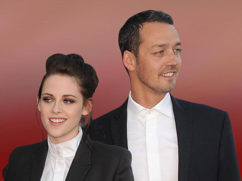 "Actress Kristen Stewart and director Rupert Sanders attend the ""Snow White and the Huntsman"" screening, Los Angeles, on texture, partial graphic"