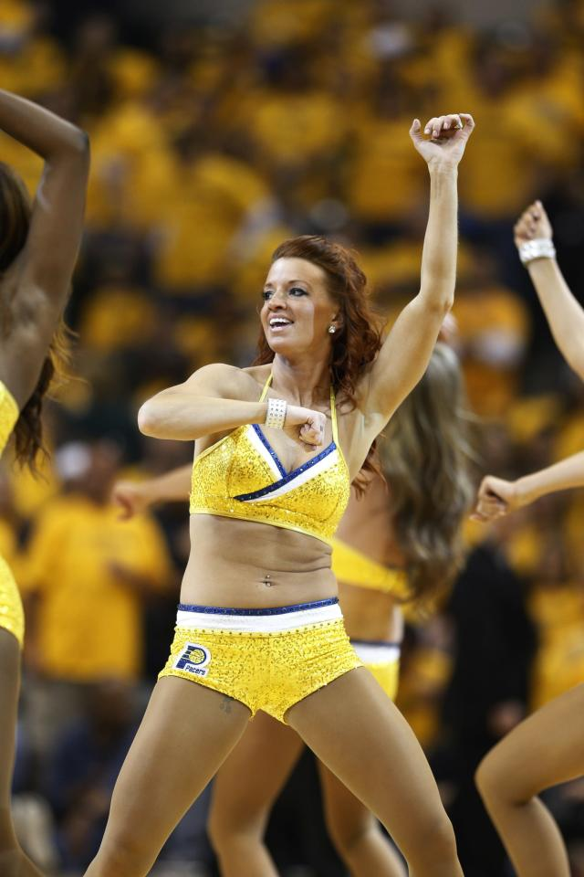 INDIANAPOLIS, IN - MAY 3: Indiana Pacers cheerleaders perform during a timeout against the Atlanta Hawks during Game Seven of the Eastern Conference Quarterfinals of the 2014 NBA Playoffs on May 3, 2014 at Bankers Life Fieldhouse in Indianapolis, Indiana. NOTE TO USER: User expressly acknowledges and agrees that, by downloading and or using this photograph, User is consenting to the terms and conditions of the Getty Images License Agreement. (Photo by Joe Robbins/Getty Images)