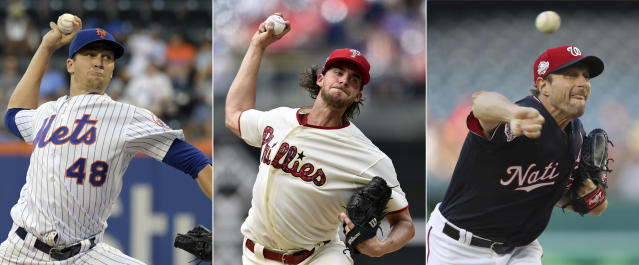 FILE - From left are 2018 file photos showing New York Mets pitcher Jacob deGrom, Philadelphia Phillies pitcher Aaron Nola and Washington Nationals pitcher Max Scherzer. Jacob deGrom, Max Scherzer and Aaron Nola are going pitch for pitch in the NL Cy Young Award race. Baseballs advanced analytics think an MVP might be on the line between that trio, too. (AP Photo/File)
