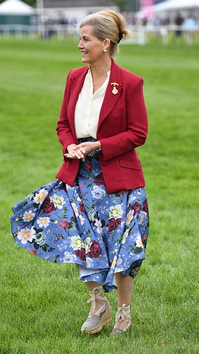 sophie-wessex-red-blazer-floral-skirt