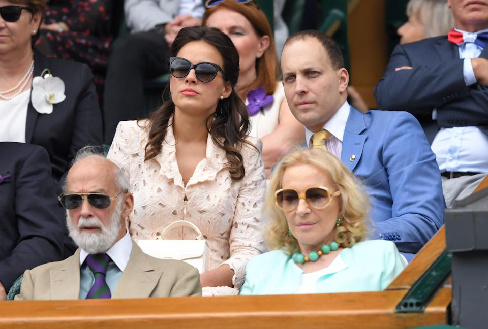 LONDON, ENGLAND - JULY 14: Prince Michael of Kent, Princess Michael of Kent, Lord Frederick Windsor and Sophie Winkleman on Centre Court during Men's Finals Day of the Wimbledon Tennis Championships at All England Lawn Tennis and Croquet Club on July 14, 2019 in London, England. (Photo by Karwai Tang/Getty Images)