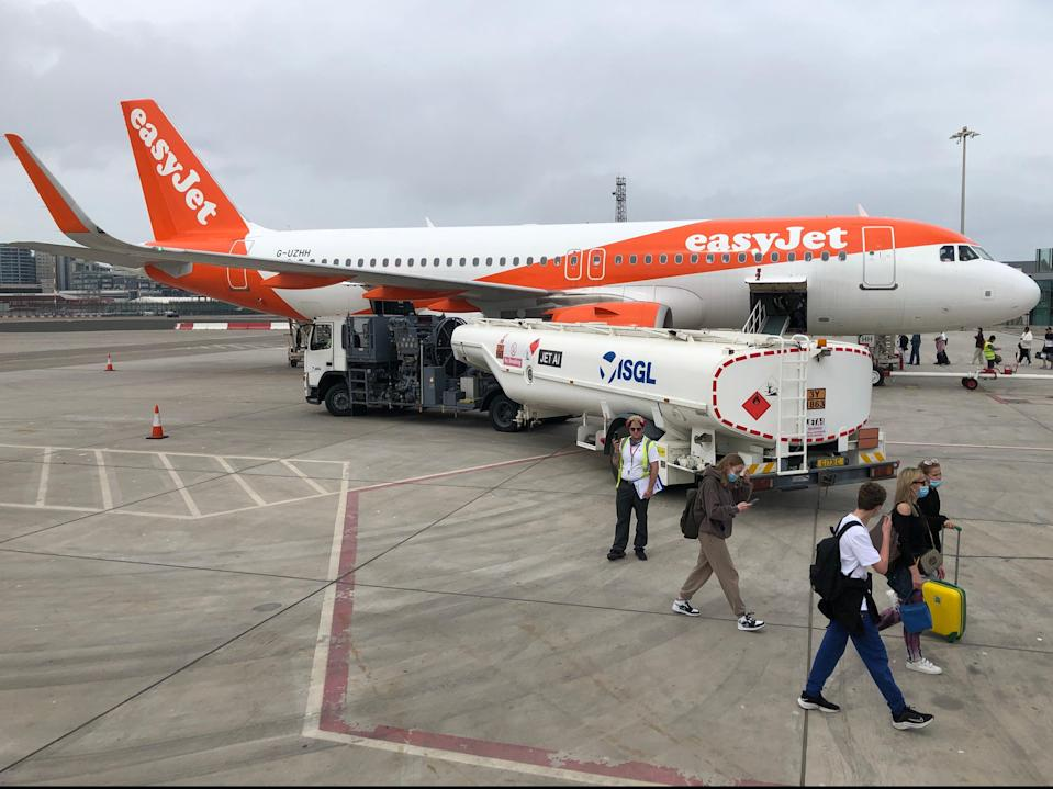 Rare sight: an easyJet Airbus at Gibraltar airport, one of the very few locations from which you can travel without quarantine (Simon Calder)