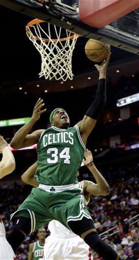 Boston Celtics' Paul Pierce (34) goes up for a shot against the Houston Rockets during the second quarter of an NBA basketball game Friday, Dec. 14, 2012, in Houston. (AP Photo/David J. Phillip)