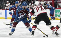 Colorado Avalanche left wing J.T. Compher, left, loses control of the puck as Arizona Coyotes defenseman Oliver Ekman-Larsson covers in the second period of an NHL hockey game Monday, April 12, 2021, in Denver. (AP Photo/David Zalubowski)