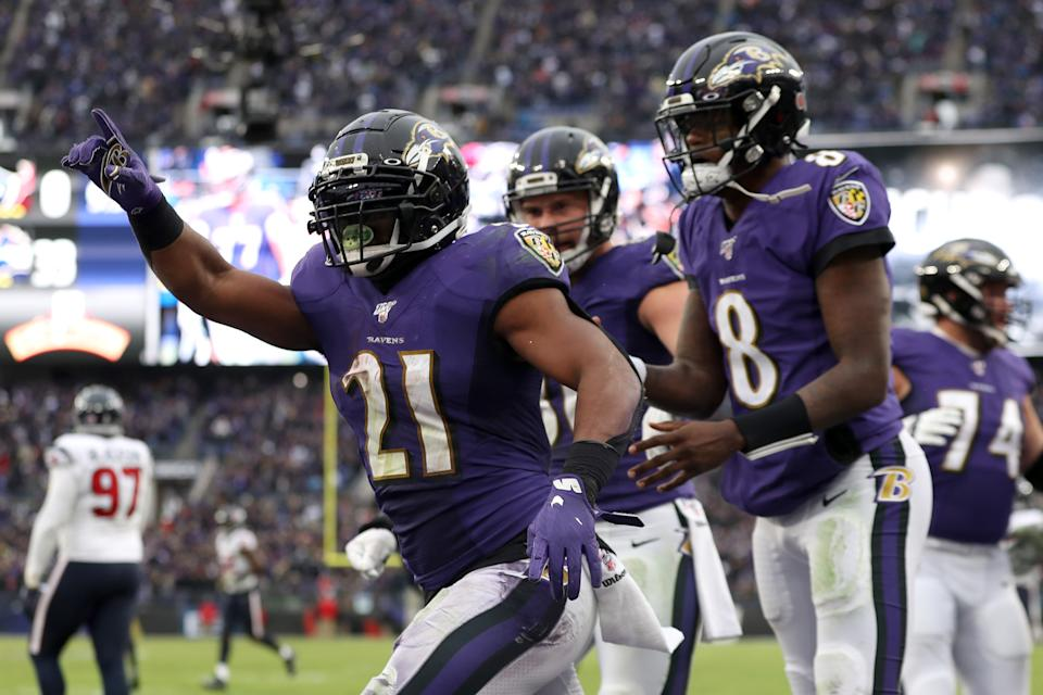 Mark Ingram is ready to take on all comers who don't see Lamar Jackson as the NFL MVP. ( Rob Carr/Getty Images)