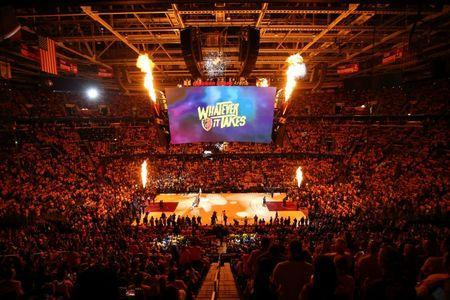 May 19, 2018; Cleveland, OH, USA; A general view of Quicken Loans Arena before game three of the Eastern conference finals between the Boston Celtics and the Cleveland Cavaliers in the 2018 NBA Playoffs. Mandatory Credit: Aaron Doster-USA TODAY Sports