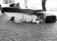 <p>Sean Connery takes a nap during a break from filming Diamonds Are Forever</p>