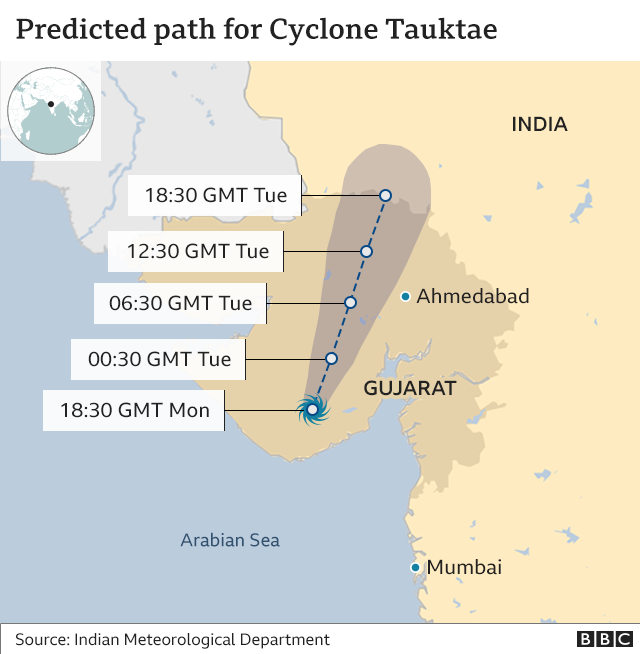 Predicted path of the cyclone (18 May 2021)