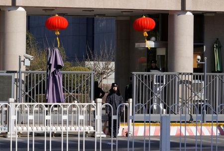 Security personnel stand guard at headquarters of the Central Commission for Discipline Inspection of the Communist Party of China in Beijing, China February 10, 2018. Picture taken February 10, 2018. REUTERS/Jason Lee