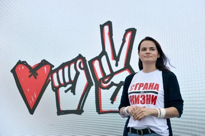 Svetlana Tikhanovskaya launched her presidential campaign after her husband was arrested and barred from challenging the incumbent Alexander Lukashenko (AFP Photo/Sergei GAPON)