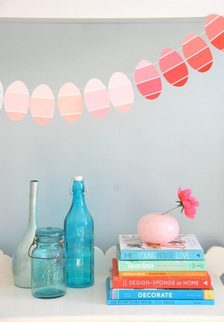 """<p>Genius DIY discovery: Paint chips cut into ovals look just like cute, striped eggs! Snag a few from a hardware store and string them together to create this (basically free) craft.</p><p><em><a href=""""http://thesweetestdigs.com/2013/03/27/the-diy-files-a-paint-chip-easter-egg-garland/"""" rel=""""nofollow noopener"""" target=""""_blank"""" data-ylk=""""slk:Get the tutorial at The Sweetest Digs »"""" class=""""link rapid-noclick-resp"""">Get the tutorial at The Sweetest Digs »</a></em><br></p>"""