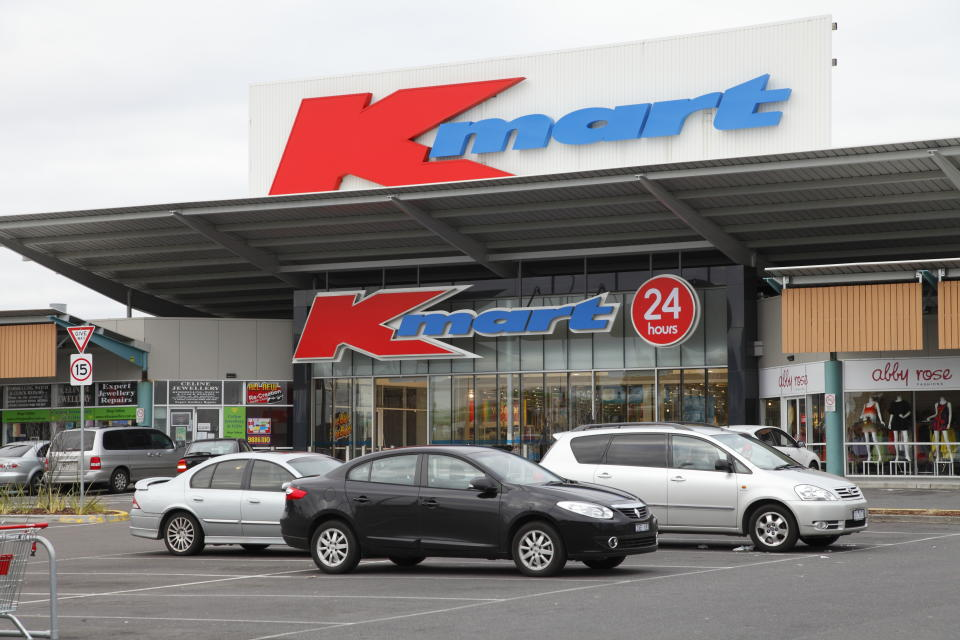 """Melbourne, Australia - August 19, 2012: Kmart is an internationally recognised discount retailer. Here is the carpark and entrance to the 24 hour store in Burwood, Melbourne."""
