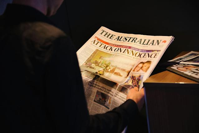 <p>Newspapers are seen with headlines and stories covering the Manchester Bombing on May 24, 2017 in Melbourne, Australia. (Michael Dodge/Getty Images) </p>