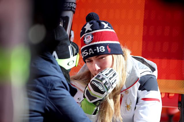 Mikaela Shiffrin apparently puked before finish fourth in the slalom race at the 2018 Winter Olympics. (Getty)