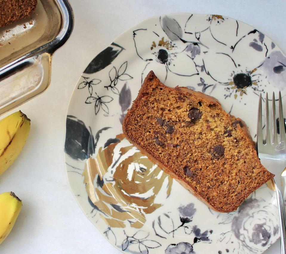 """<p>This dairy-free banana bread tastes like a treat without being a total sugar bomb.</p><p><a class=""""link rapid-noclick-resp"""" href=""""https://kellyjonesnutrition.com/healthy-dairy-free-banana-bread/"""" rel=""""nofollow noopener"""" target=""""_blank"""" data-ylk=""""slk:GET THE RECIPE"""">GET THE RECIPE</a></p><p><em>Per serving: 230 calories, 16 g fat (6 g saturated), 44 g carbs, 300 mg sodium, 16 g sugar, 4.5 g fiber, 5 g protein</em></p>"""