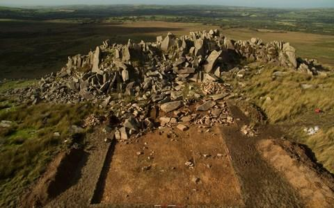 Carn Goedog quarry in Wales, the source of spotted bluestones erected in the early stage of Stonehenge's construction - Credit: Adam Stanford of Aerial-Cam Ltd
