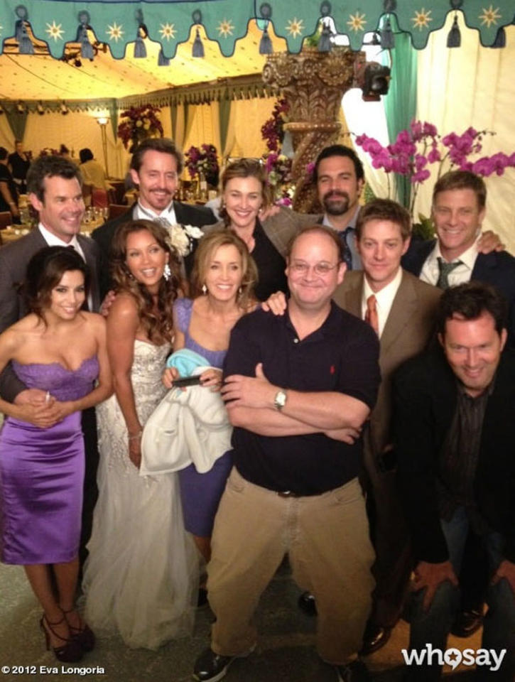 """""""<span>That's a wrap! End of an era!<span style=""""text-decoration:underline;""""> </span><a href=""""http://twitter.com/search?q=%23desperatehousewives"""" target=""""_blank"""">#desperatehousewives,""""</a></span> Eva Longoria posted on <a target=""""_blank"""" href=""""http://www.whosay.com/EvaLongoria/photos/164157"""">her WhoSay page</a> on Friday, along with this pic of her, various castmembers, and series creator Marc Cherry. The show will end its eight-season run with the series finale, set to air Sunday, May 13. <br><span><a href=""""http://twitter.com/search?q=%23desperatehousewives"""" target=""""_blank""""><br></a></span>"""