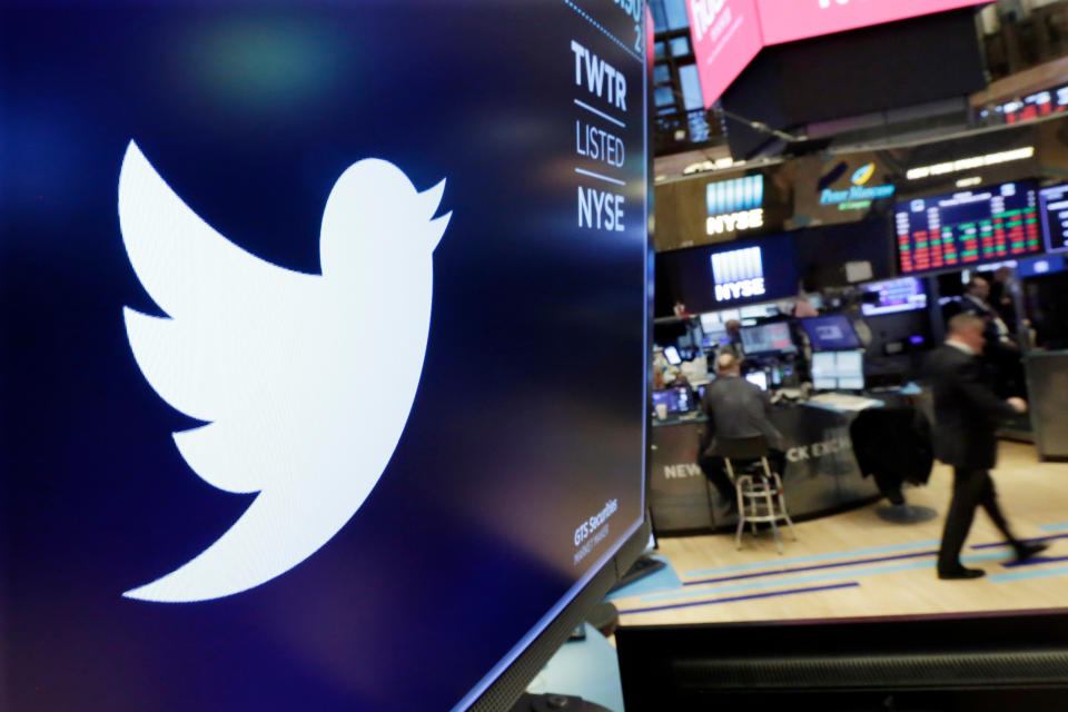 FILE - In this Feb. 8, 2018, file photo, the logo for Twitter is displayed above a trading post on the floor of the New York Stock Exchange. Five technology giants reported mixed earnings results Thursday, Oct. 29, 2020 a sign of varying fortunes as they try to rebound from an pandemic-related economic slowdown earlier this year. While all five — Amazon, Google parent Alphabet, Facebook, Apple and Twitter — exceeded analyst expectations, gloomy forecasts and other uncertainties led to share-price declines for all but Alphabet in after-market trading.   (AP Photo/Richard Drew, File)