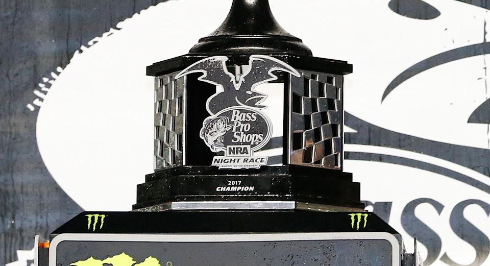 The base of the trophy for the Bass Pro Shops NRA Night Race at Bristol Motor Speedway. (Getty)