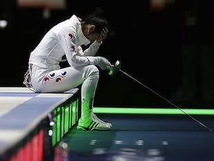 South Korean fencer Shin A Lam during her country's protest — AP