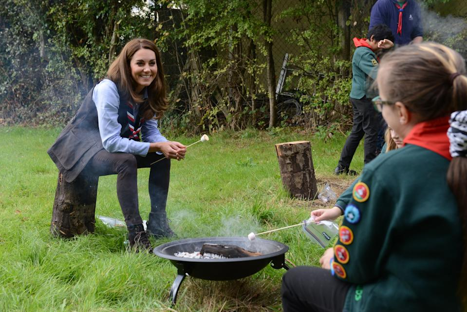 The duchess maintained social distance from the kids in outdoor activities. (Martyn Milner)