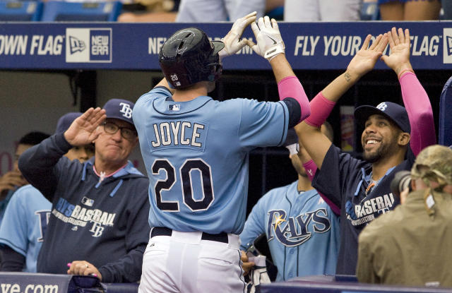 Tampa Bay Rays manager Joe Maddon, left, and David Price, right, congratulate Matt Joyce (20) during the first inning of a baseball game against the Cleveland Indians, Sunday, May 11, 2014, in St. Petersburg, Fla. (AP Photo/Steve Nesius)